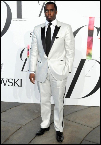 White and classy business suit; very Diddy.