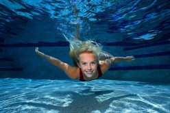 Clarissa in the pool.