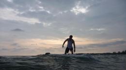Surfing near the saltwater crocs.