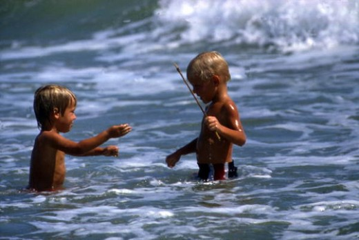 View of boys in the surf at Sebastian Inlet State Park: Melbourne Beach, Florida