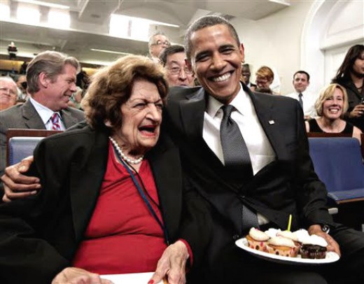 Obama and Helen Thomas at a brithday party.