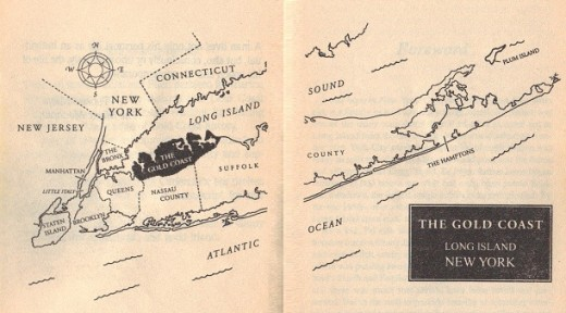 Map of The Gold Coast, in Long Island, NY taken from the book itself