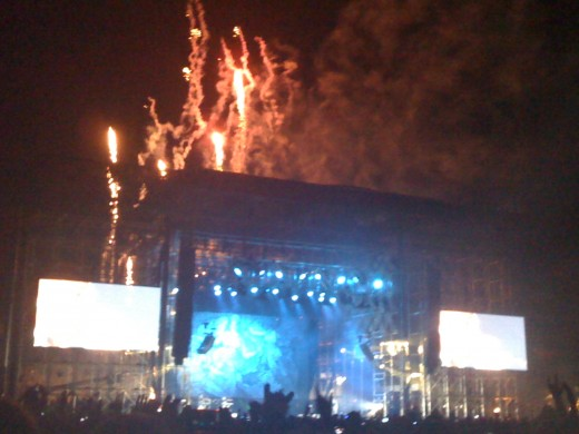 Fireworks going off during Kanye West's set on Sunday, 4/17/11. (Photo: Joshua Pringle)
