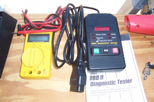 Handheld Voltmeter and an OBDII Code Reader. Tells you why the check engine light is on. I am not affiliated with Actron in anyway. It happened to be on sale when I needed a code reader.