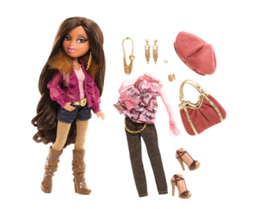 A Bratz Doll flaunts her short shorts and knee-high boots.