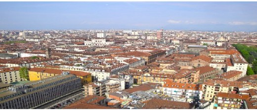 view of Torino from Mole Antoinettana's ascensore