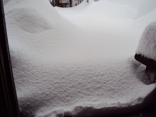 A deep snow in Lake Arrowhead, California.