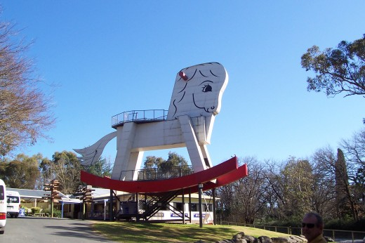 Biggest rocking horse-also wild life park Adelaide hills.
