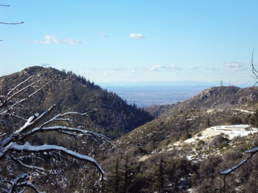 Looking down on Hesperia before the major snowstorm.  There was only a tiny bit of snow here.