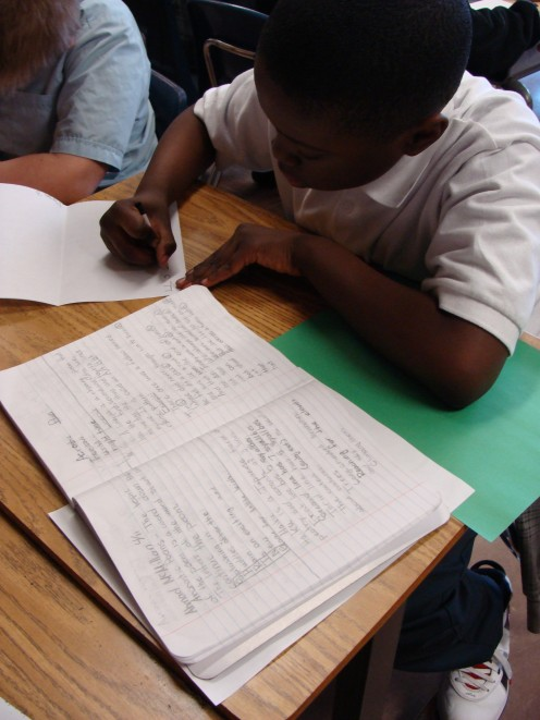 Students edit poems from their writer's notebooks and publish them in their poetry books.