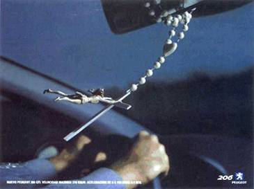 Jesus is hanging on to the cross as this driver zooms down the road!