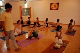 This is Ardha Matsyendrasana Yoga Pose - various trained teachers from Indian Yoga Institutes have been setting up their yoga institutes in other parts of the world.