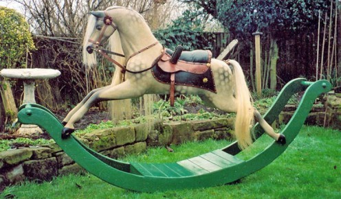 Restored 19th century bow rocking horse.Image from the Kensington Rocking Horse Company website.