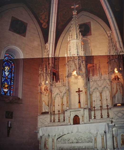 2 photos pieced together of the altar inside of the Loretto Chapel.