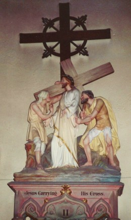 Each Station of the Cross was beautifully created and displayed inside of the Loretto Chapel.