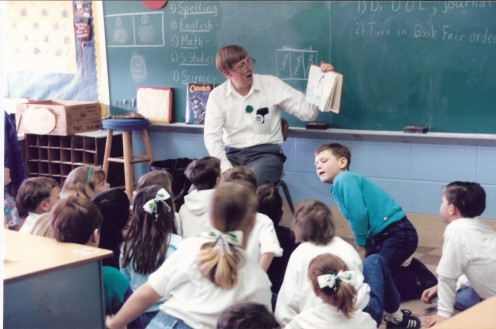 Yours truly teaching my second graders!  Dr. Seuss is still a huge favorite!
