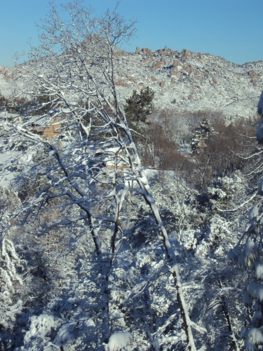 Looking out at The Pinnacles after the snow storm.