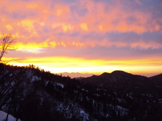 The splendor of a pink and purple sunset in the San Bernardino Mountains.
