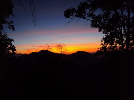 A vibrant sunset with orange.