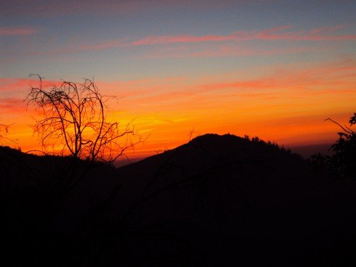 You can also see blue and pink in this orange tinged sunset.