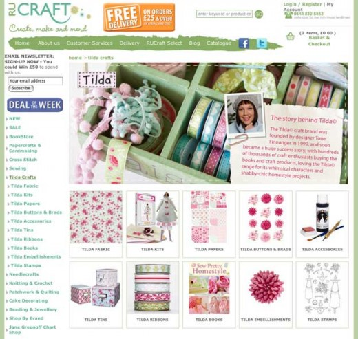 Broad range of craft supplies including some specialist ranges like Tilda