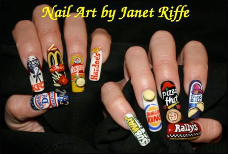 This is another art design by Janet Riffe, it features all fast food nail, check out McDonald, Captian D's, Burger King, Subway, Pizza Hut, etc all on finger nails, this is too cute.