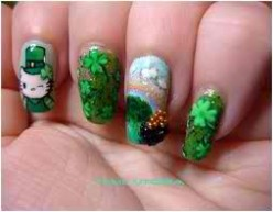 St. Patricks Day  nail art is different but I guess some people  feel lucky with four leaf clovers involved.