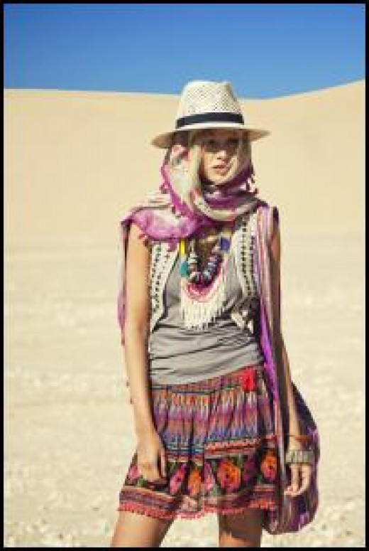 Colorful accessories compliment the 70's hippy chic look.