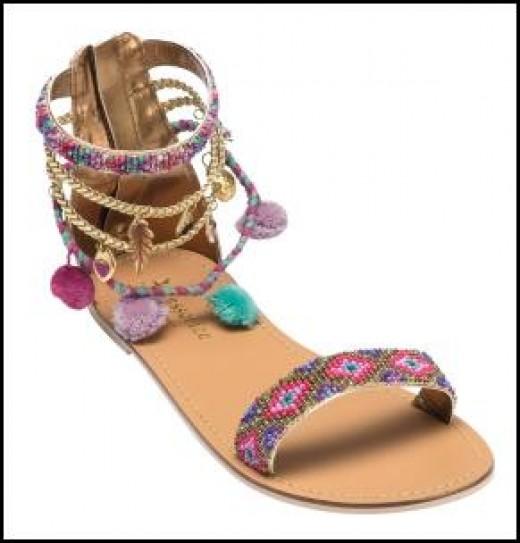 bohemian gypsy 70's style sandals.