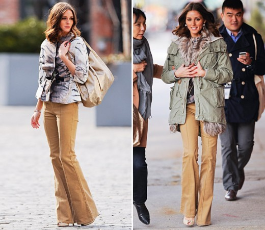 Olivia Palermo wearing Flared Trousers.