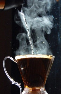 Steaming cup of joe