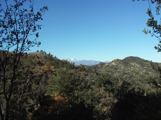 The brilliant blue sky with the view of Mount Baldy.