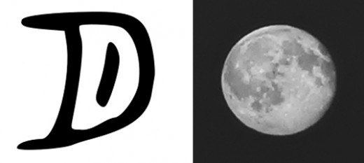 Moon (left) written in ancient Chinese and as a photo (right) by Alexandra Lucas
