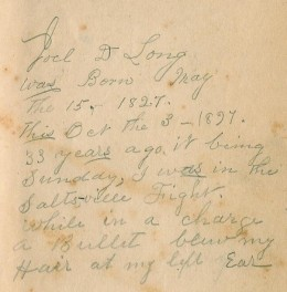 Joel Long, Sr.'s, inscription on the flyleaf of Roark's _Psychology in Education_.  Apparently, this was a book that belonged to Joel's nephew or cousin who was one of the Longs who taught in Johnson County, KY, after the war.