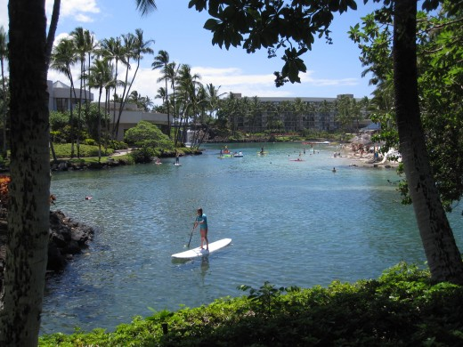 The lagoon at he Hilton Waikoloa Village.