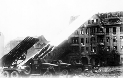 Soviet Katyusha rocket launchers firing in the Battle of Berlin, April 1945