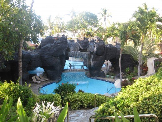 Hot tub and water slide at The Hilton Waikoloa Village.