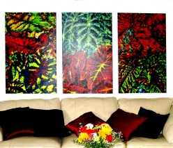Floral collage on Giclee panels