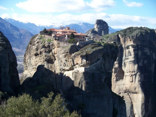A monastery perched atop a peak of Meteora