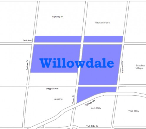 Map location of Willowdale, Toronto