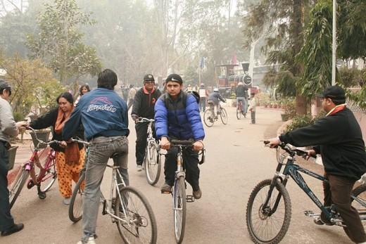 Members of Delhi Cycling Club at National Rail Museum in New Delhi.