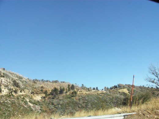 The view looking up as traveling down Highway 18.