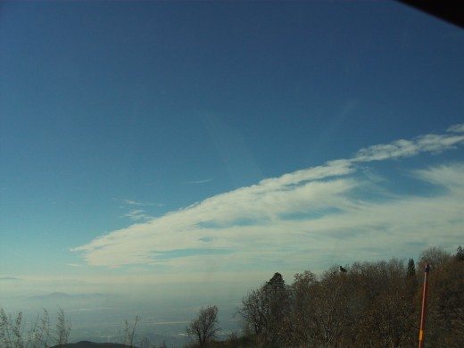 Streaked clouds in the sky.