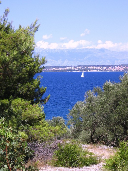 View on Zadar City and Mountain Velebit from Island of Ugljan, Adriatic Coast, Croatia