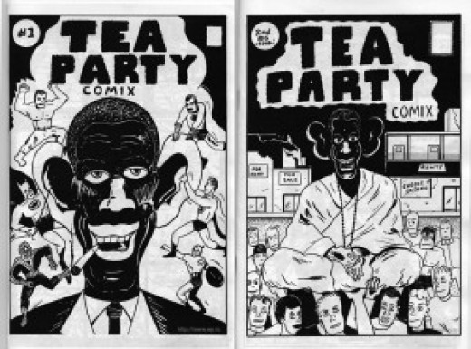 Tea Party comics? Nothing here to even hint at President Obama's race, is there?