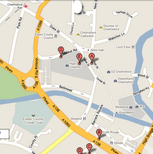 Map of the charity shops in Chelmsford, Essex