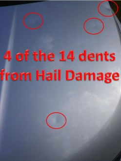 Hail damage to a brand new car