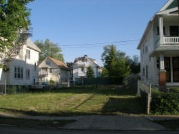 My childhood friend's home is no longer standing. (My mom still lives in the house on the right.)