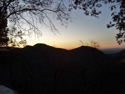 The glow of sunset in the San Bernardino Mountains.