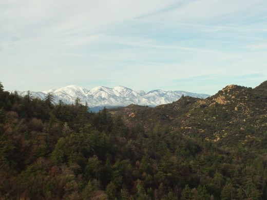 Snow on the peaks of Mount Baldy.